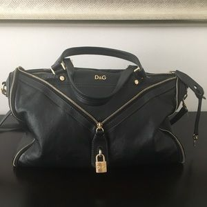 Dolce & Gabbana Black Leather Bag Gold D&G accents